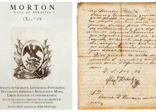 La casa de subastas Morton subastaba documentos y objetos de la independencia incluyendo la carta de Hidalgo